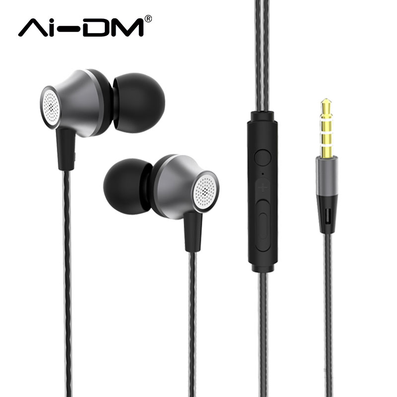 AI DM Wired Earphone Super Bass Sound Earbuds Noise Cancelling Voice Control With HD Mic HiFi
