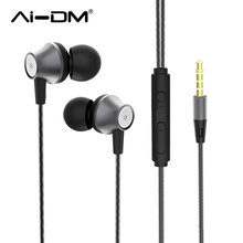 AI-DM Wired Earphone Super Bass Sound Earbuds Noise Cancelling Voice Control With HD Mic HiFi Music Headset For Xiaomi IOS Phone