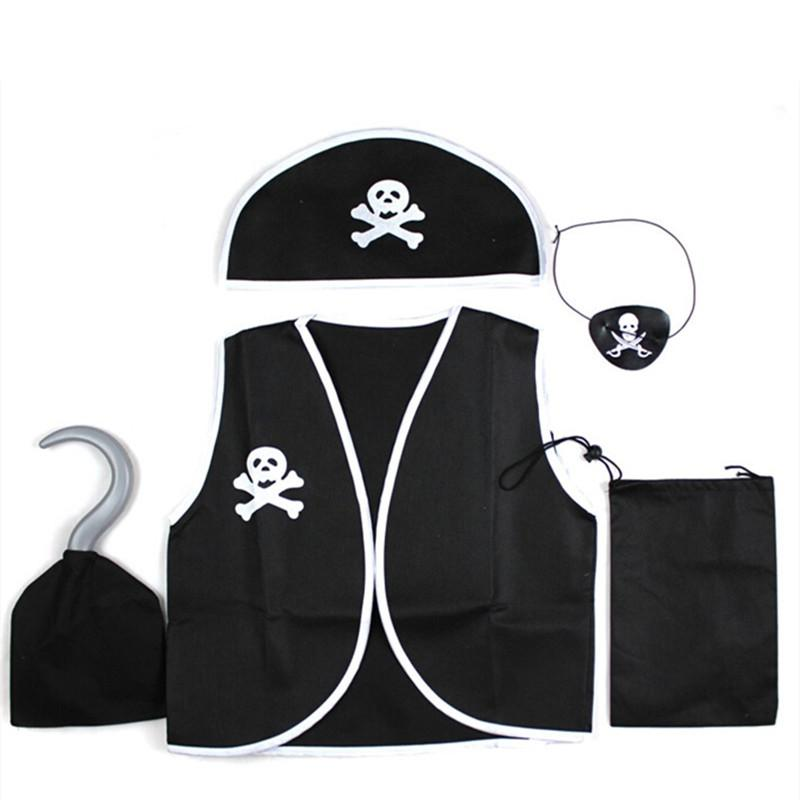 Children Kids Classic Pirate Costume Halloween Cosplay Costumes Skull Eye Vest Hat Blinder Hook Boys Girl Adult Costume