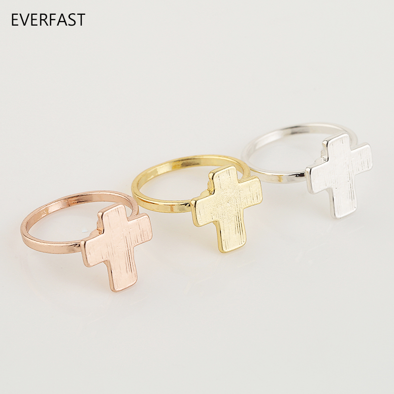 3pc/Set Big Cross Ring Silver Gold Rose Gold Color Punk Finger Rings Set Jewelry Accessories Free Shipping