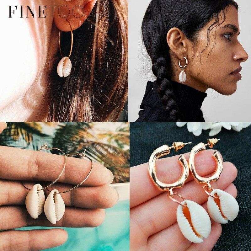 Boho Real Cowrie Shell Earrings For Women Vintage Irregular Geometric Seashell Statement Earrings Brincos Beach Jewelry
