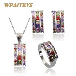 Multicolor Stones Silver Color Jewelry Sets For Women Christmas Necklace Pendant Earrings Rings Free Box Made in China