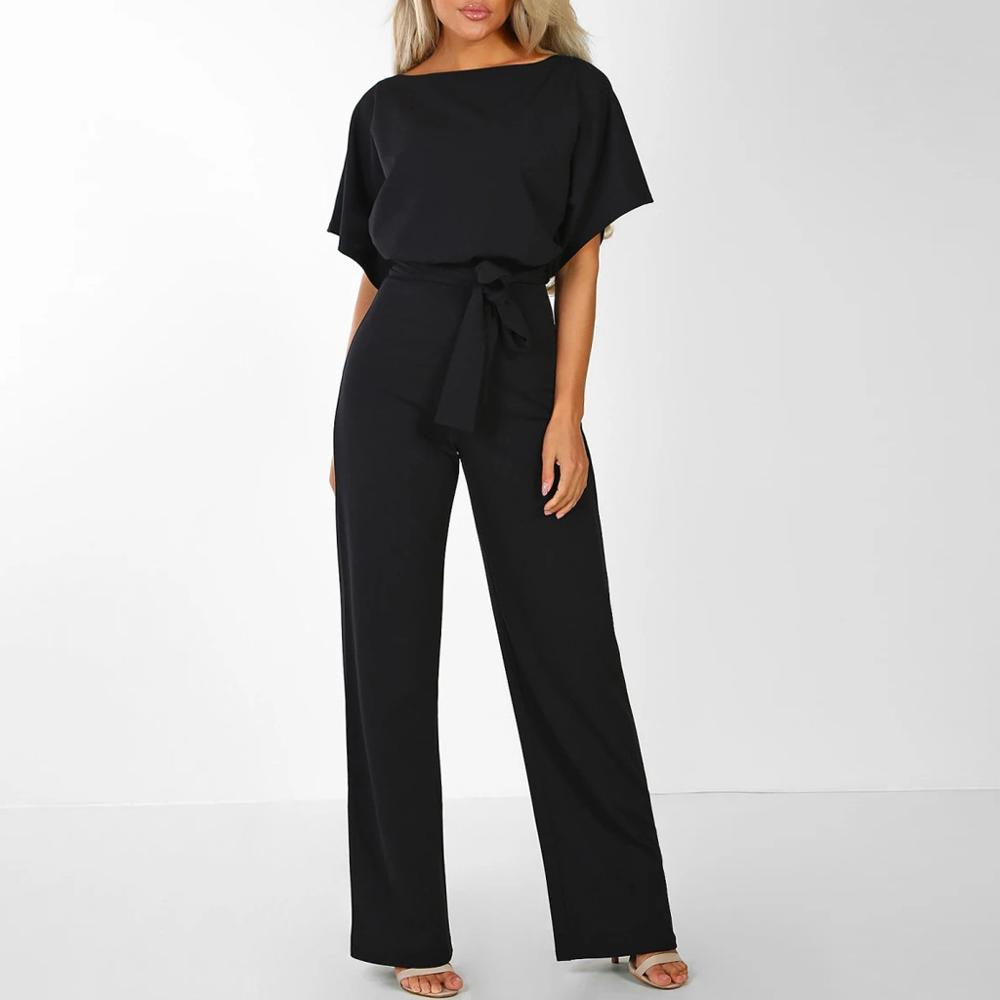 Elegant sashes jumpsuit women Short sleeve women jumpsuit Summer straight leg elastic waist   romper   Office ladies jumpsuit 2019