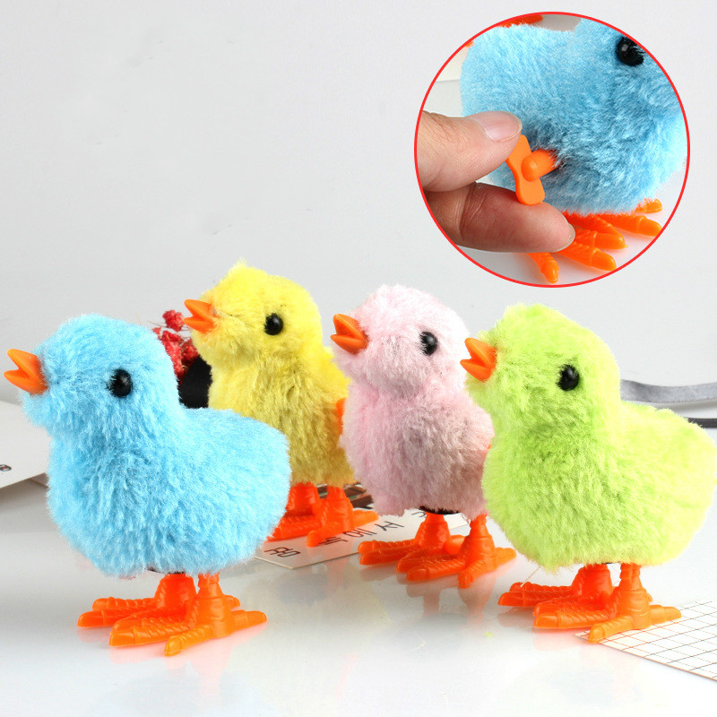 1PCS Cute Plush Wind Up Chicken Kids Educational Toy Clockwork Jumping Walking Chicks Toys For Children Baby Gifts Random Color
