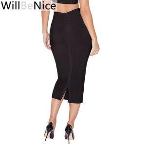 Image 1 - WillBeNice jupe moulante pour femmes, noire, taille haute, fendue à larrière, Sexy, mi mollet à bandes, crayon à bandes, vente en gros, 2019