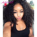 200% High Density Kinky Curly Lace Wigs Mongolian Hair Lace Front Wig Natural Color 16Inch Free Part Accept Custom
