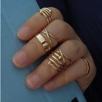 2019 Hot unique set of rings punk fist gold rings for women ring finger 6 pcs. ring set best selling 4