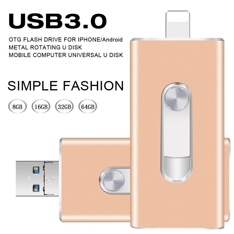 Unidade Flash USB 3.0 OTG para O Iphone 5/5S/5c/6/6 Plus/7/ipad/Android Pendrive Stick USB Mini Flash USB De Metal 64 GB 32 GB Flash USB