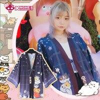 Milky Way Neko Atsume Kitty Collector Harajuku Haori Coat Japanese Summer Haori Jacket Women Haori Jacket