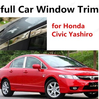 car styling for H-onda Civic Yashiro stainless steel car window frame decoration trim with column full Car Sill Trim