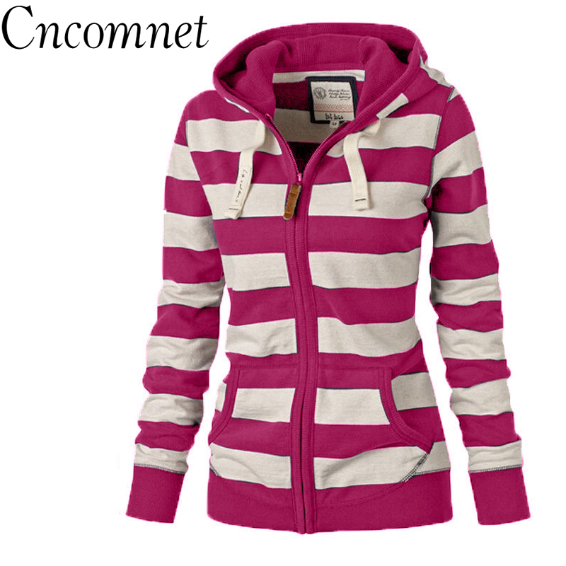 Large Size Striped Coats Fashion Casual Full New Style Spring Long Sleeve Hoodies Sweatshirt For Women Plus Size S-4XL