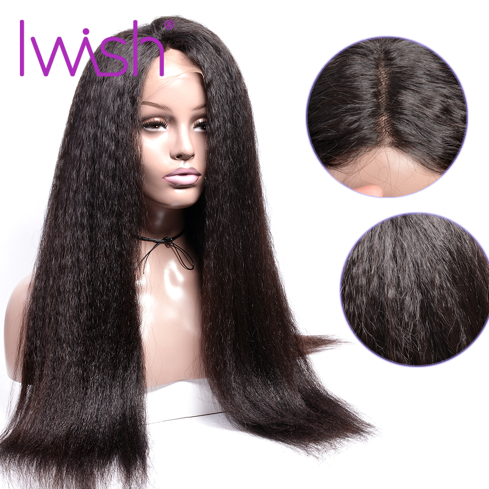 13 4 Kinky Straight Lace Front Human Hair Wigs For Women Black Color Remy Brazilian Lace