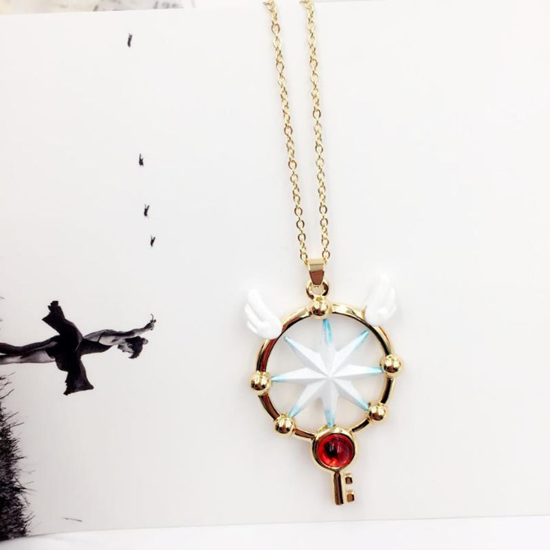 Anime Card Captor CLEAR CARD KINOMOTO SAKURA Cosplay Pink Glod Necklace Pendant Accessory Jewelry