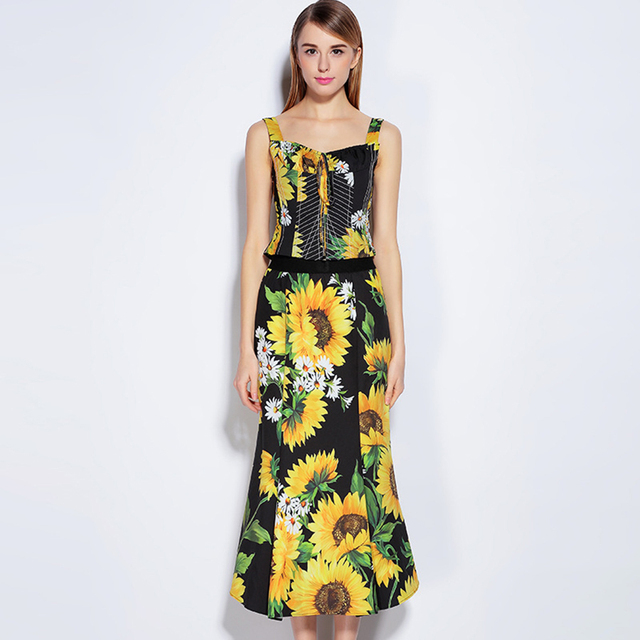 Print Cultivate Skirt Set 2017 Summer Sexy Sunflower Belt Spahetti Strap Square Collar Short Top+Package Hip Trumpet Multi Skirt