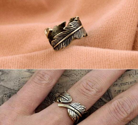 nj109 Antique Womens Mens Leaf Feather Ring Finger Ring Fashion Jewelry