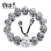 Байер модные Для мужчин; полированный 100% 925 стерлингового серебра Буддизм мантра браслет принести повезло упругий канат ювелирных BR SC001