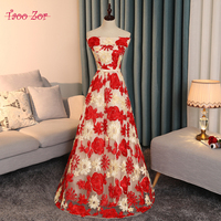 TaooZor Royal Red Gold Flowers Long Prom Dress Sexy Strapless Luxurious Formal Party Dress A Line