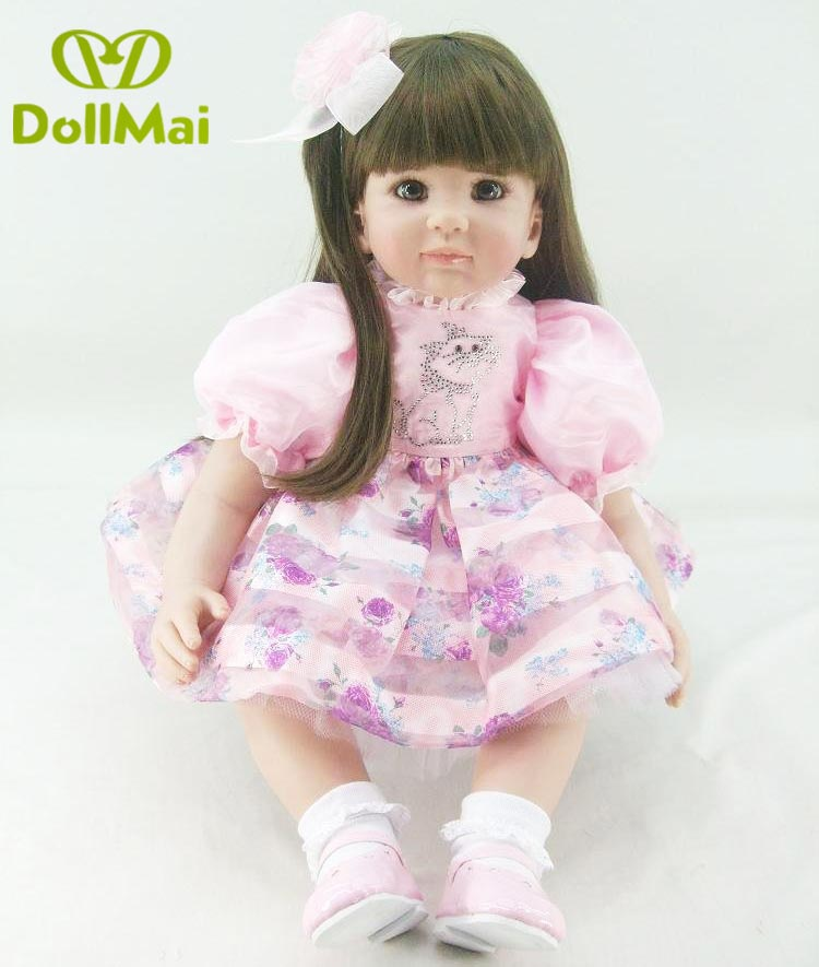 Boutique 60cm/24 Silicone Vinyl Reborn Baby Doll Princess Toddler Alive Bebe Accompany Doll Birthday Gift For Girl Boneca D90Boutique 60cm/24 Silicone Vinyl Reborn Baby Doll Princess Toddler Alive Bebe Accompany Doll Birthday Gift For Girl Boneca D90