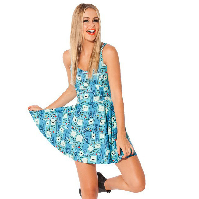 Free size 1001 Fashion cheap Women's 3D printing batman logo prints elastic summer sexy Girl skater one-piece dress skirt
