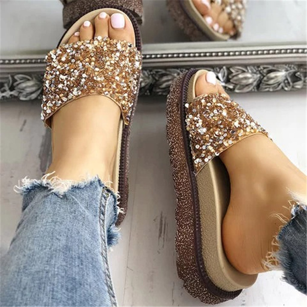 Sequins Low Heels Soft Bottom Slip On Slides Women Fashion Crystal Open Toe Beach Crystal Shoes Roman Style Slippers Sandals