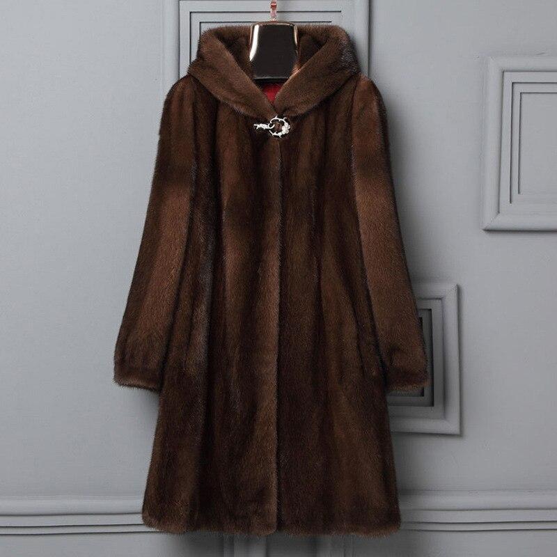 2019 New Woman Fur Plus Size Women Clothing 6Xl Winter Womens Faux Fur Coat Long Sleeve With Hood Luxury Fur Coats X936