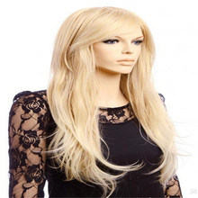 70 cm long blonde curly synthetic wig