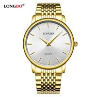 LONGBO Brand Luxury Wrist Watch Full Stainless Steel Lover Watch Business Analog Quartz Watch Gold Wristwatches Relogio Gift