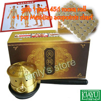 Pure Copper Moxibustion Box body Warm Moxibustion Device (Gift 1pack moxa roller +1pcs meridian chart)