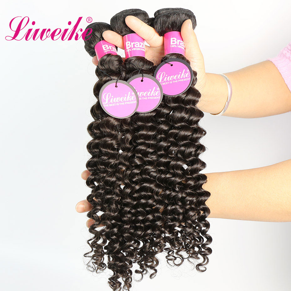 Liweike Deep Curly 4 Pcs Deal Brazilian Human Hair Weaves Extension 100 Remy Hair 10 30
