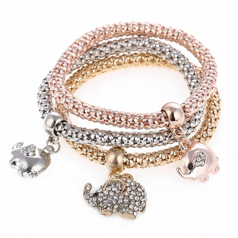 3 PCs Womens Unisex Gold Color& Silver Color& Rose gold Color Elephant Pendant Cuff Crystal Stretch Bracelet esmaltes Jewelry