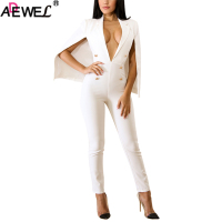 ADEWEL Sexy Plunge V Neck Bodycon Jumpsuits For Women 2018 White Black Sleeveless Tippet Long Pants