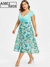 Ameision Women Summer Dress Bohemian V-Neck Wrap Chiffon Short Sleeve Plus Size Midi Dresses Beach Sundres