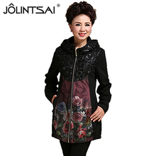 Quinquagenarian printed jacket women mother clothes big yards long outwear 2016 Spring&Autumn Fashion cotton Women's clothing