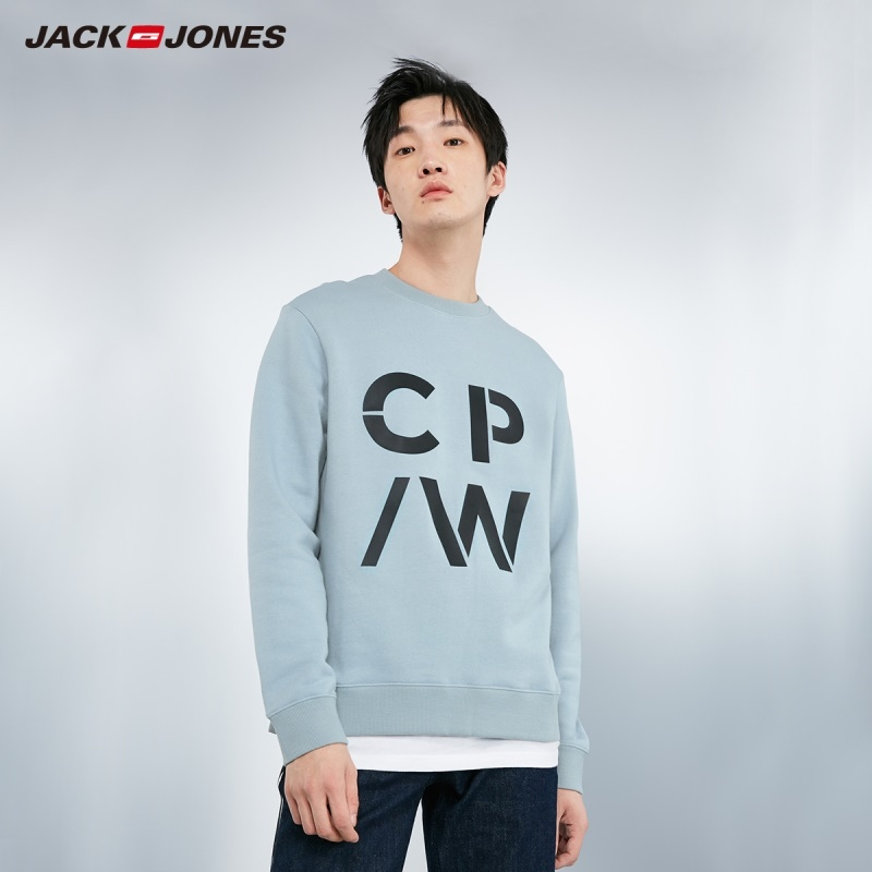 JackJones Men's 100% Cotton Round Neckline Letter Print Pure Color Sports Sweatshirt Top Menswear |219133506