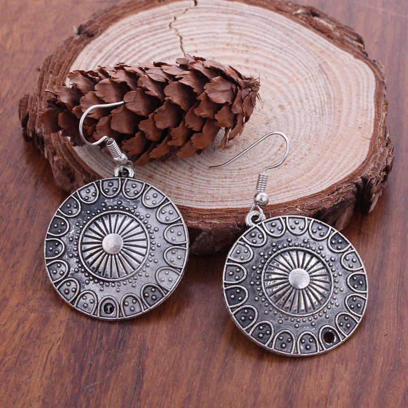 Fashion Statement Bohemian Vintage Ethnic Tibetan Silver Big Round Drop Earring Long Carved Flowers Drop Earrings For Women