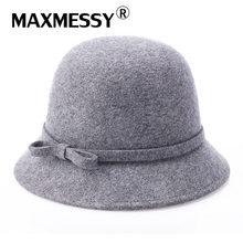 Maxmessy vintage elegante invierno Sombreros de fieltro sombrero 100% de lana  para las mujeres sombrero elegante para señora Niñ. a90c9f06dcf