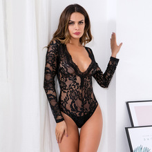 black lace bodysuit women clothes 2019 summer sexy deep v-neck long sleeve perspective bodysuit plus size one piece romper P5112 black padded design deep v neck bodysuit swimwears