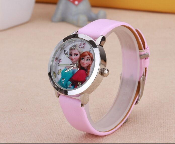2016 Presale New Cartoon Children Watch Princess Elsa Anna Watches Fashion Girl Kids Student Cute Leather quartz Wrist Watches disney frozen elsa anna princess best rhinestone watch pretty girls fashion casual quartz watches kid leather 54055 snowflake