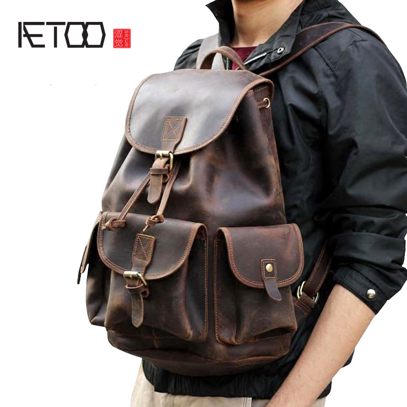 AETOO Crazy horse skin large capacity shoulder bag male imports the first layer of leather handmade backpack female travel bag aetoo spring and summer new leather handmade handmade first layer of planted tanned leather retro bag backpack bag