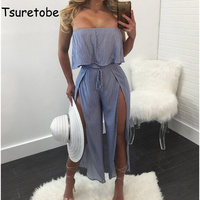 Tsuretobe Fashion Striped Bodycon Jumpsuit Women Romper Summer Ruffles Off Shoulder Strapless Backless Night Club Sexy