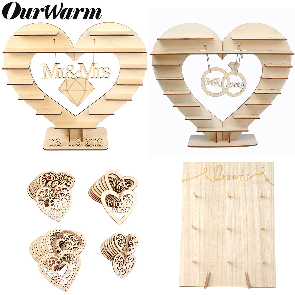 OurWarm Candy Bar Stand Wedding Table Decoration Wooden Heart Tree Ferrero Rocher Chocolate Stand Donut Wall Holds DIY Crafts in Party DIY Decorations from Home Garden