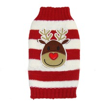 30pcs/lot Free Shipping Reindeer Pet Puppy Cat Dog Sweater Striped Knitted Crochet Coat Apparel Clothes Christmas 7 Sizes WA1210
