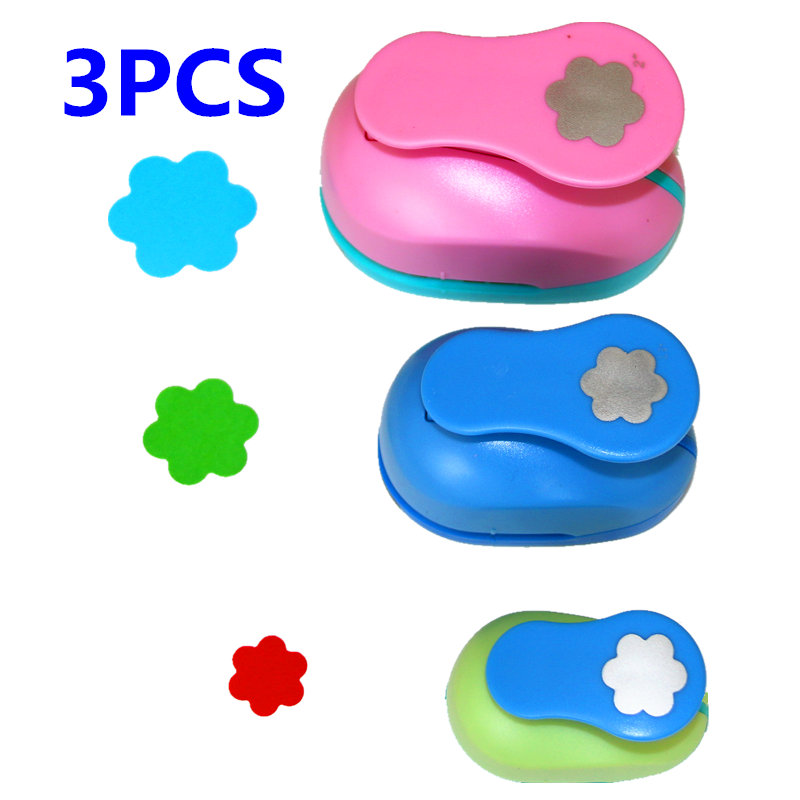3PCS(5cm,3.8cm,2.5cm) Flower Shape Craft Punch Set Children Manual DIY Hole Punches Cortador De Scrapbook Circle Punch