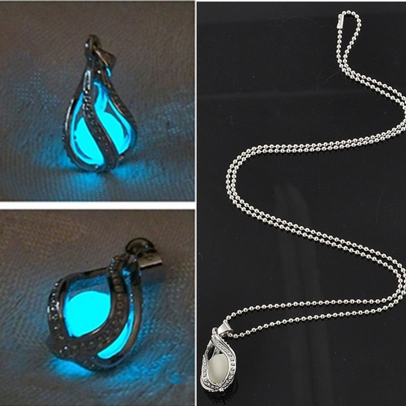 Luminous Bead Pendant Necklace Fashion Women Men Couple for The Little Mermaids Teardrop Jewelry
