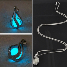 Luminous Bead Pendant Necklace Fashion Women Men Couple for The Little Mermaids Teardrop Jewelry