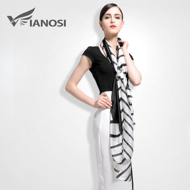 [Vianosi] moda black white lenços das senhoras lenço de seda de luxo de alta qualidade marca bandana acessórios va005