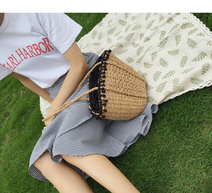 REREKAXI New Bohemian Beach Bag for Women Cute Handmade Straw Bags Summer Grass Handbags Drawstring Basket Bag Travel Tote 6
