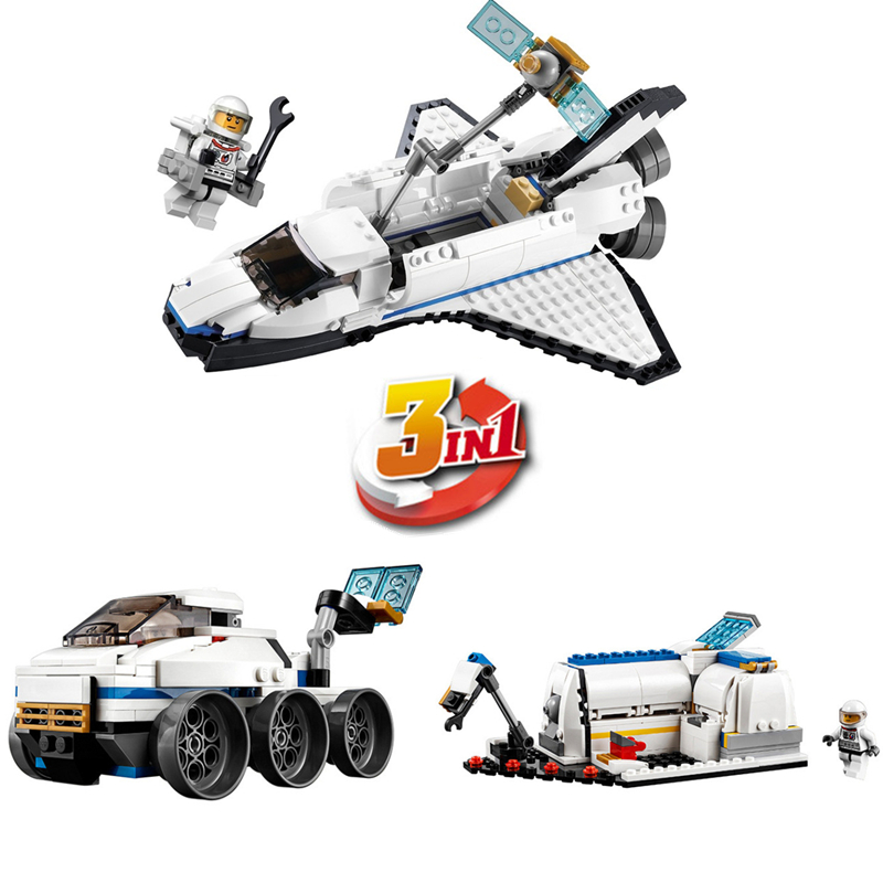 DECOOL City Creator 3 in 1 Space Shuttle Explorer Building Blocks Sets Kits Bricks Classic Model Kids Toys Compatible Legoings decool 3118 city 285pcs architect changed 3 in 1 space shuttle explorer building block diy toys educational kids gifts