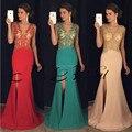 Dressy new star 2017 formal prom vestidos v cuello lateral dividir Piso-longitud robe de bal ballkleider Formal de Noche de Baile vestidos