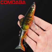 1Pcs 3 Sections Top Water Minnow Fishing Lures Swimbait Jointed Hook Crankbait 13cm 17.5g Crazy wobblers fishing tackle